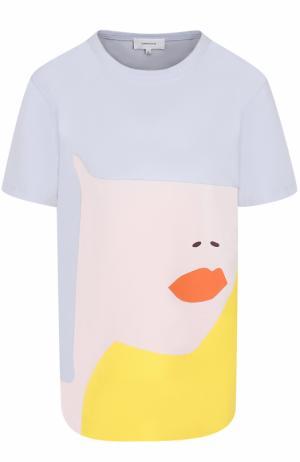 Хлопковая футболка с принтом Carven. Цвет: разноцветный
