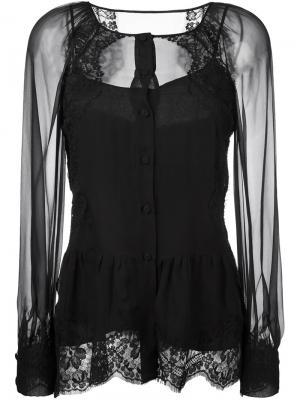 Прозрачная блузка с кружевными панелями Alberta Ferretti. Цвет: чёрный