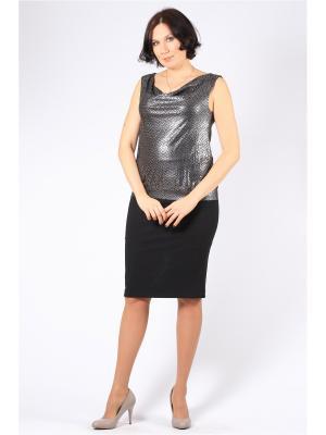 Блузка BERKANA. Цвет: черный, серебристый