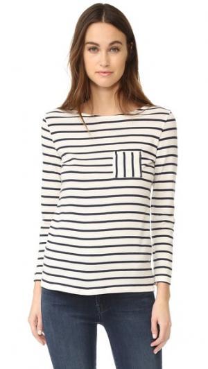 Полосатая футболка 1X1 Iconic с карманом Petit Bateau. Цвет: темно-синий и белый