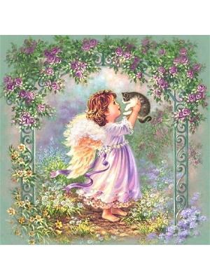 Декоративная наволочка Маленький ангел Рапира. Цвет: зеленый, бежевый, розовый
