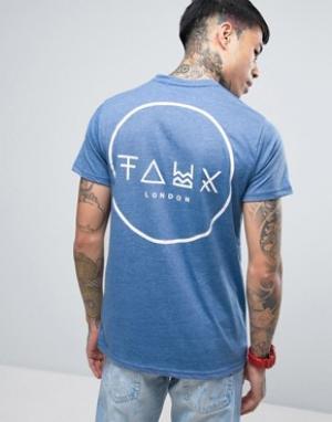 Friend or Faux Футболка с принтом на спине Crescent. Цвет: синий