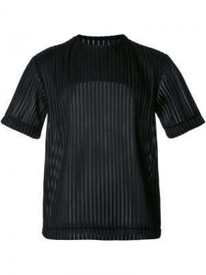 Полупрозрачная футболка в рубчик Matthew Miller. Цвет: чёрный