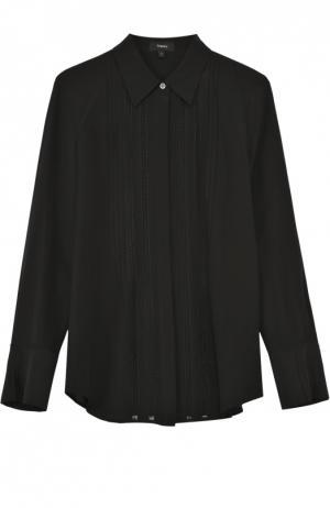Шелковая блуза прямого кроя с полупрозрачными вставками Theory. Цвет: черный