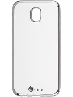 Накладка  skinBOX silicone chrome border 4People для Samsung Galaxy J5 (2017). Цвет: серебристый