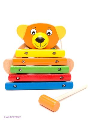 Ксилофон Медвежонок, 5 тонов ЗАТЕЙНИКИ. Цвет: светло-коричневый