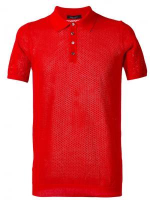 Однотонная футболка-поло Roberto Collina. Цвет: красный