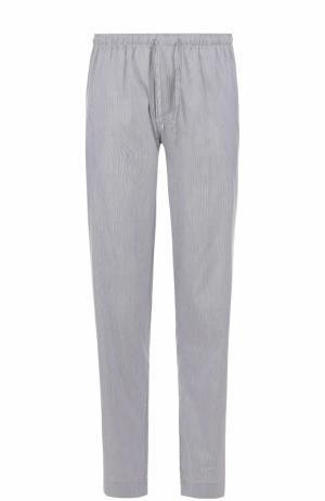 Домашние брюки свободного кроя из смеси хлопка и шелка Zimmerli. Цвет: темно-синий