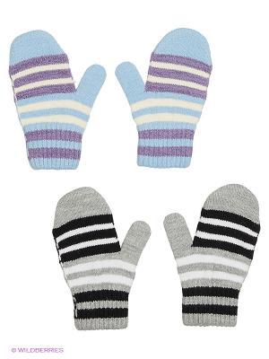 Варежки FOMAS. Цвет: голубой, сиреневый, светло-серый, черный