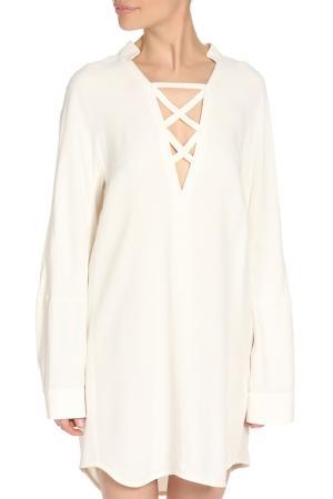 Летнее платье с V-образным вырезом Dondup. Цвет: белый