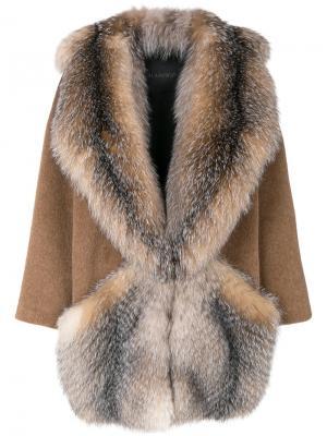 Пальто с воротником-шалька Blancha. Цвет: коричневый