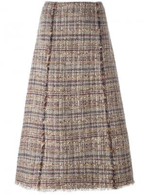 Твидовая юбка А-образного силуэта Diane Von Furstenberg. Цвет: многоцветный