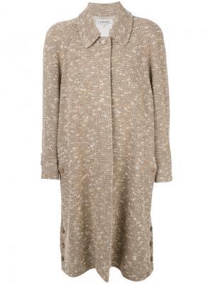 Вязаное пальто Chanel Vintage. Цвет: телесный