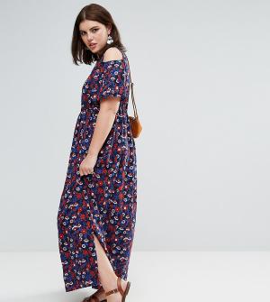 Diya Платье макси с вырезами на плечах и мелким цветочным принтом. Цвет: мульти