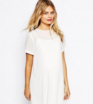 ASOS Maternity Цельнокройное платье для беременных с верхним слоем из шифона Mat. Цвет: белый