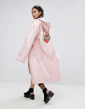 Jaded London Лакированный удлиненный макинтош с принтом на спине. Цвет: розовый