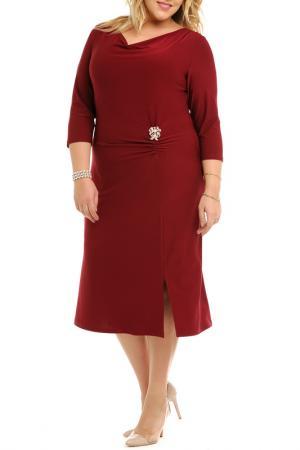 Платье, брошь Svesta. Цвет: бордовый