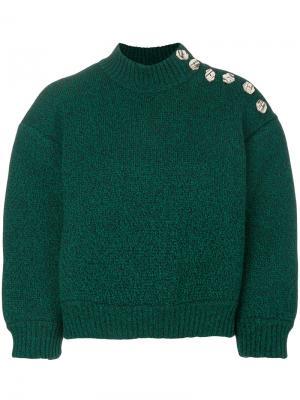 Укороченный свитер с завышенным воротом Veronique Leroy. Цвет: зелёный