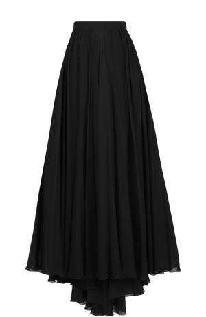 Шелковая юбка-макси с высоким разрезом и подолом Elie Saab. Цвет: черный