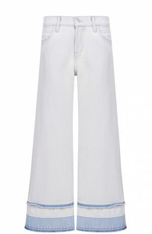 Укороченные расклешенные джинсы с необработанным краем J Brand. Цвет: голубой