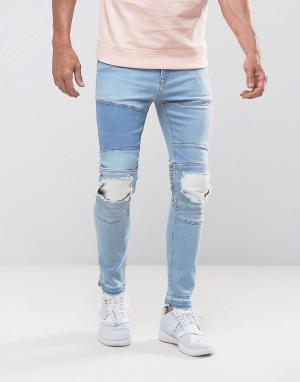 ASOS Светло-голубые супероблегающие джинсы в байкерском стиле с рваной отде. Цвет: синий