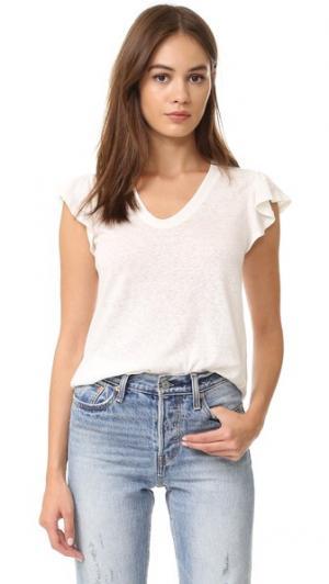 Выцветшая футболка с короткими рукавами и оборками La Vie Rebecca Taylor. Цвет: серый