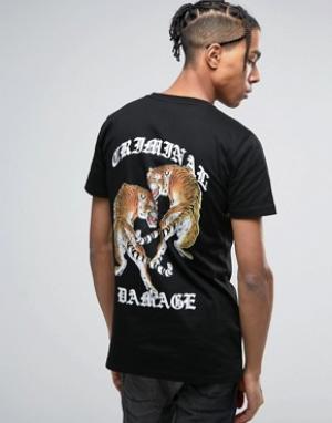 Criminal Damage Черная футболка с принтом тигра на спине. Цвет: черный