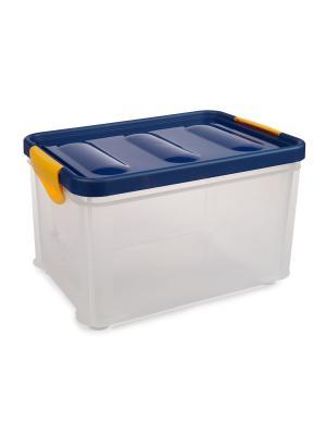 Ящик с фиксирующейся крышкой, 20л Elff Ceramics. Цвет: синий, белый
