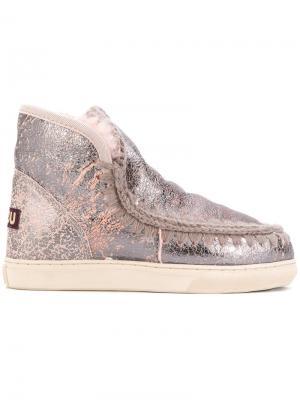 Ботинки с декоративной строчкой Mou. Цвет: металлический