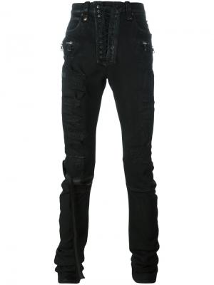 Distressed skinny trousers Unravel Project. Цвет: чёрный