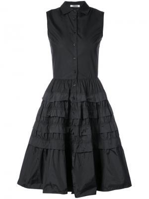 Платье-рубашка с ярусными оборками Jourden. Цвет: чёрный