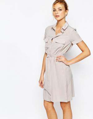 Closet London Строгое платье-рубашка с пуговицами. Цвет: розовый