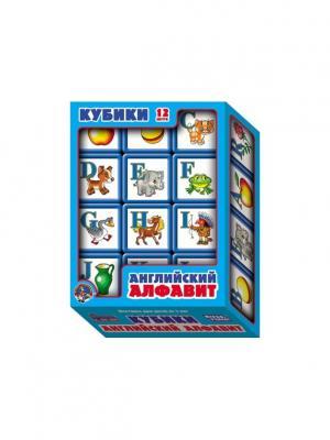 Выдувка. Кубики с бортиком Английский алфавит 12 эл (5,5 см) Десятое королевство. Цвет: бирюзовый, белый, горчичный