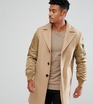 Diesel Пальто с контрастными рукавами. Цвет: бежевый