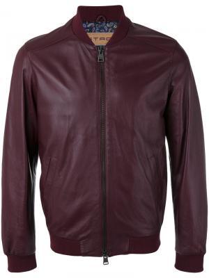 Кожаная куртка-бомбер Etro. Цвет: розовый и фиолетовый