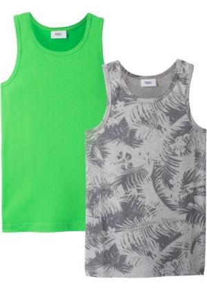 Майка (2 шт.) (светло-серый меланж/ярко-зеленый) bonprix. Цвет: светло-серый меланж/ярко-зеленый