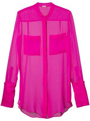 Прозрачная блузка на пуговицах Adam Lippes. Цвет: розовый и фиолетовый