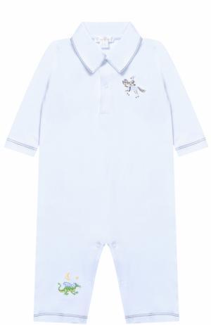 Хлопковая пижама с вышивками Kissy. Цвет: голубой