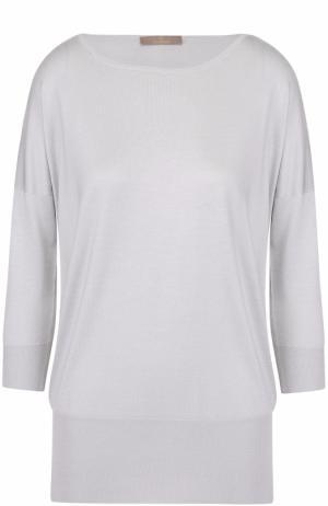 Кашемировый пуловер с укороченным рукавом и круглым вырезом Cruciani. Цвет: серый
