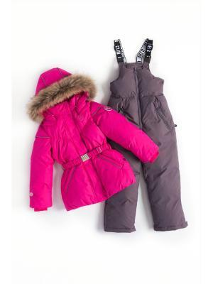 Комплект (куртка, полукомбинезон) NELS. Цвет: серый, темно-фиолетовый