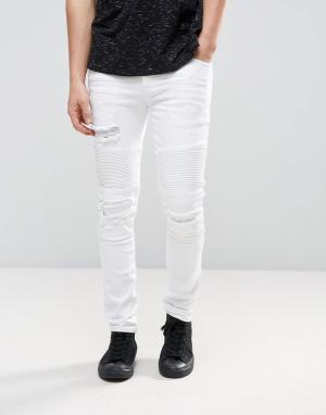 ASOS Белые байкерские джинсы скинни с рваной отделкой. Цвет: белый