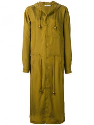 Пальто с капюшоном на завязках Mes Demoiselles. Цвет: зелёный