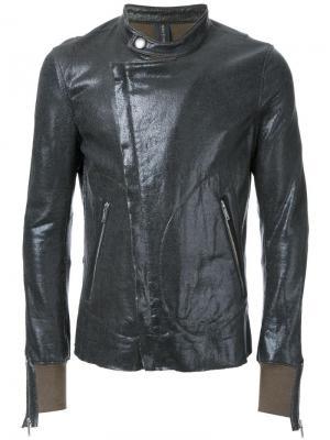 Эластичная куртка с вощеным покрытием на молнии Maison Mihara Yasuhiro. Цвет: чёрный
