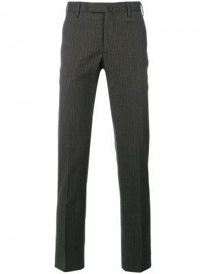 Полосатые классические брюки Incotex. Цвет: коричневый