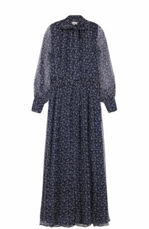 Шелковое платье с воротником аскот Paul&Joe. Цвет: темно-синий