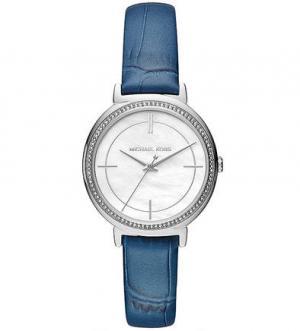 Часы с тонким кожаным ремешком выделкой под рептилию Michael Kors