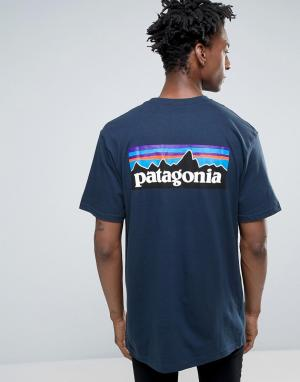 Patagonia Темно-синяя футболка классического кроя с карманом и логотипом Patagon. Цвет: темно-синий