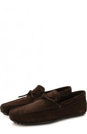 Замшевые мокасины на шнуровке Tod's. Цвет: темно-коричневый