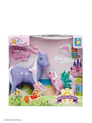 Игровой набор: две пони с аксессуарами Пониландия 1Toy. Цвет: розовый, сиреневый