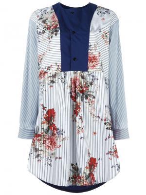 Платье-рубашка с контрастной манишкой Antonio Marras. Цвет: синий